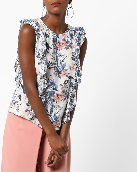 Floral Print Top With Ruffles By Rena Love ( Multi )