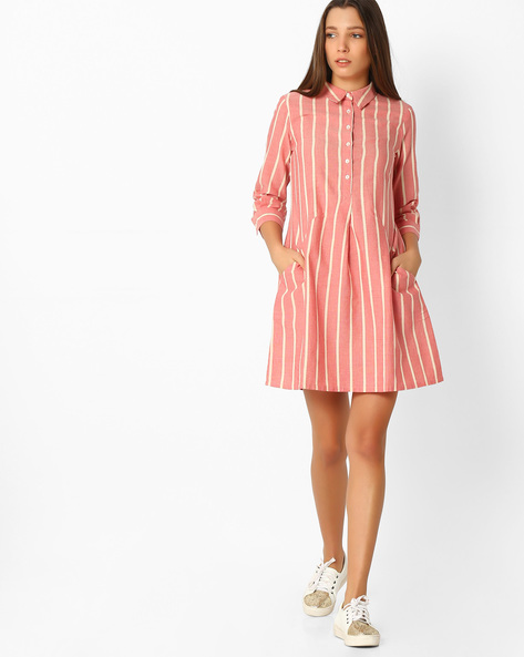 Striped A-Line Dress With Shirt Collar By And ( Red )