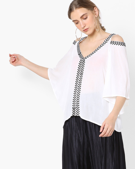 Cold-Shoulder Top With Kaftan Sleeves By Rena Love ( Offwhite )