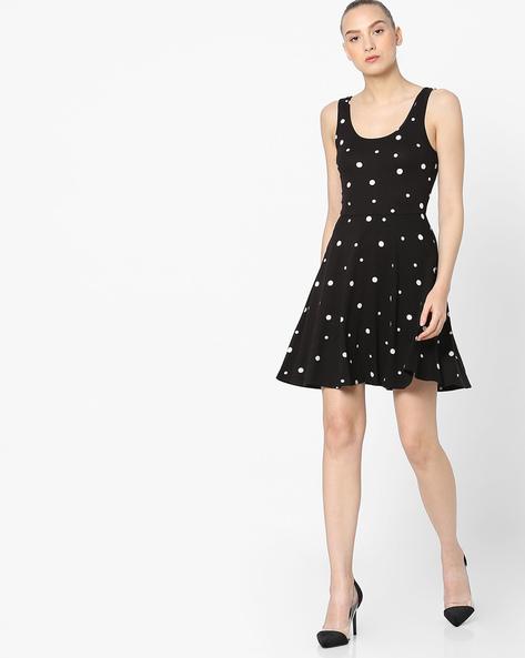 Polka-Dot Print Skater Dress By Pink Woman ( Black )