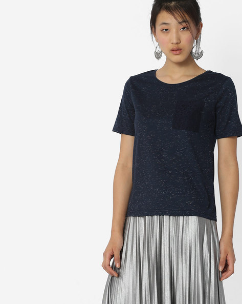 Heathered Top With Lace Accent By Fame Forever By Lifestyle ( Navy )