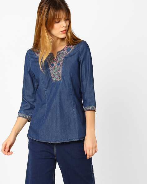 Top With Embroidered Yoke By KRAUS ( Blue )