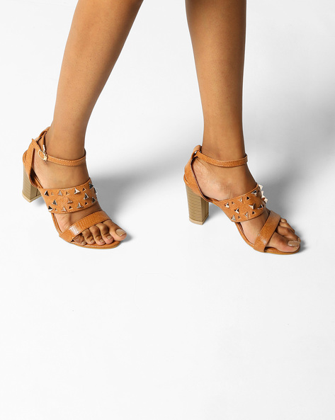 Strappy Chunky Heels With Metallic Studs By MFT Couture ( Apricot )