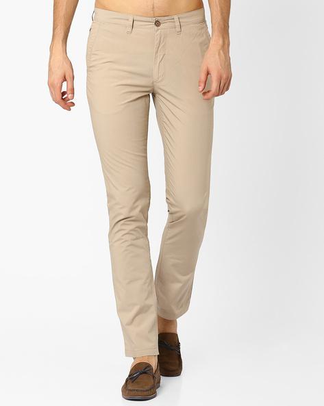Deon Slim Fit Pants With Belt Loops By Wills Lifestyle ( Beige )