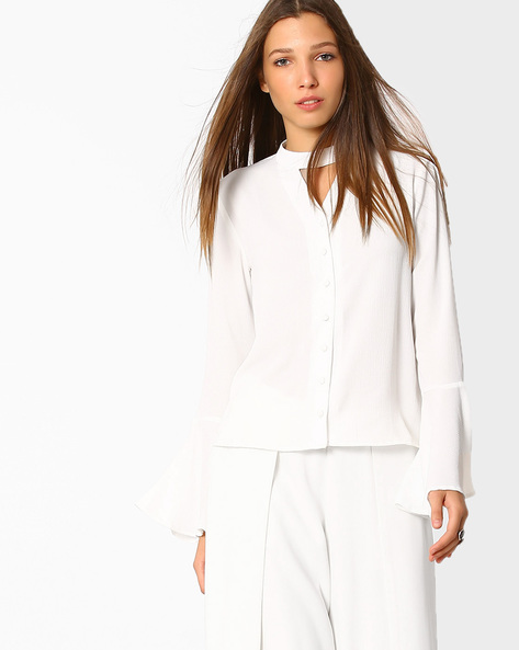 Top With Bell Sleeves And Cut-Out By Femella ( White )