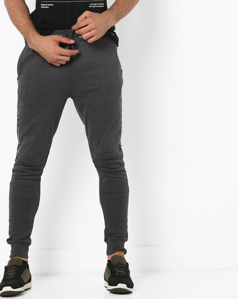 Panelled Joggers With Placement Print By FLYING MACHINE ( Gray )