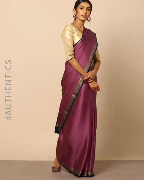 Pure Mysore Silk Crepe Embossed Saree With Zari Border By Indie Picks ( Magenta )