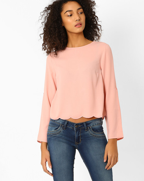 Crop Top With Scalloped Hem By Vero Moda ( Rose )