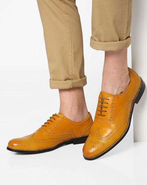 Genuine Leather Semi Brogues By Hats Off Accessories ( Mustard )