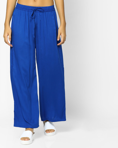 Palazzos With Drawstring Fastening By Indian Ink ( Royalblue )