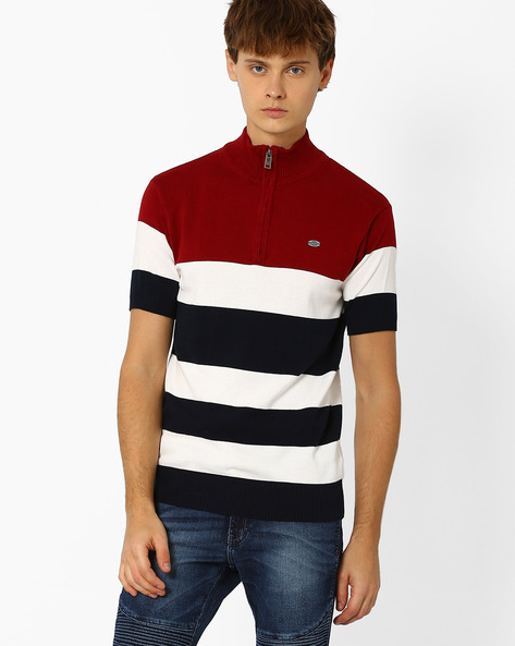 Striped Cotton T-shirt By NETPLAY ( Maroonburg )