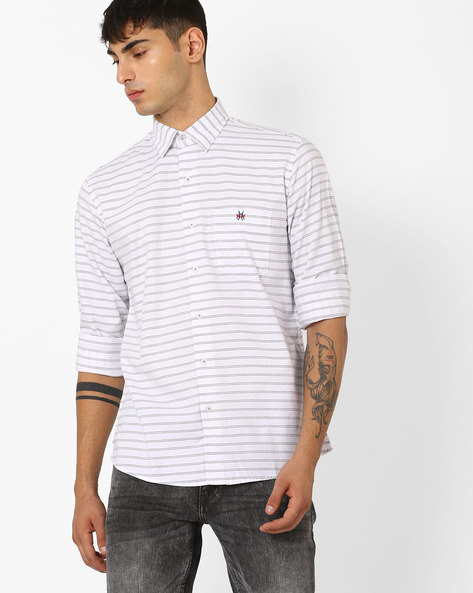 Striped Slim Shirt By CRIMSOUNE CLUB ( White )