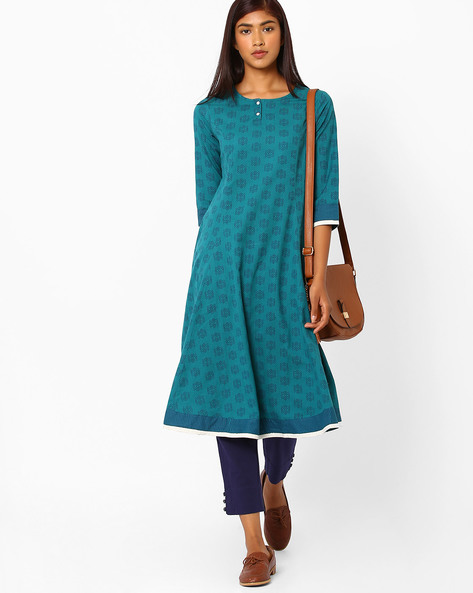 Tailored Fit Printed Kurta By AJIO ( Teal )