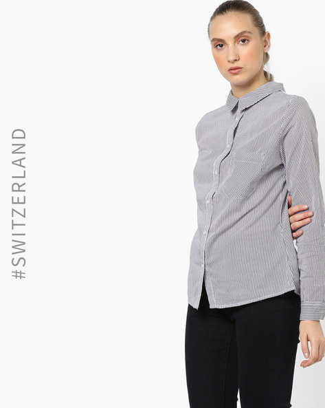 Shirt Top With Cut-Out By TALLY WEiJL ( Blue )