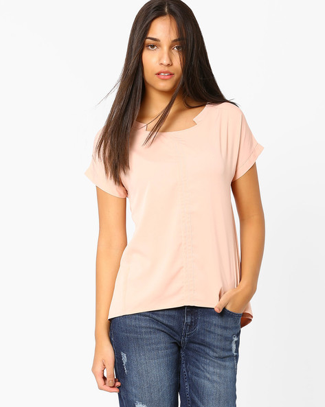 Asymmetrical Top With Tie-Ups By AJIO ( Pink )