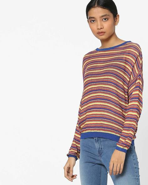 Knitted Striped Top With Ribbed Hems By Only ( Musatrd )