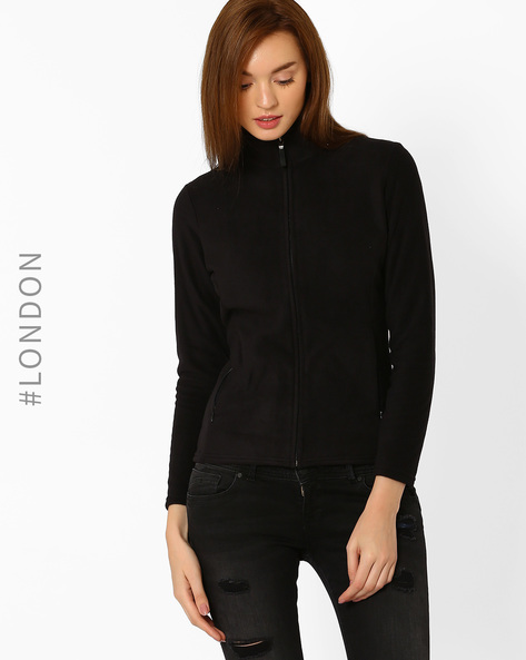Sweatshirt With Zipper By Marks & Spencer ( Black )