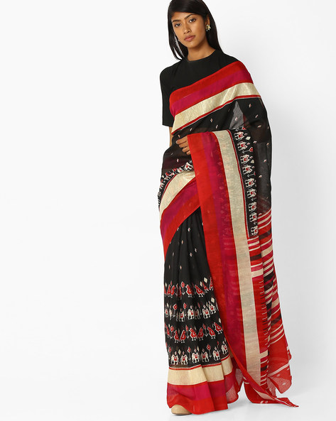 Printed Saree With Striped Pallu By Pihu ( Black )