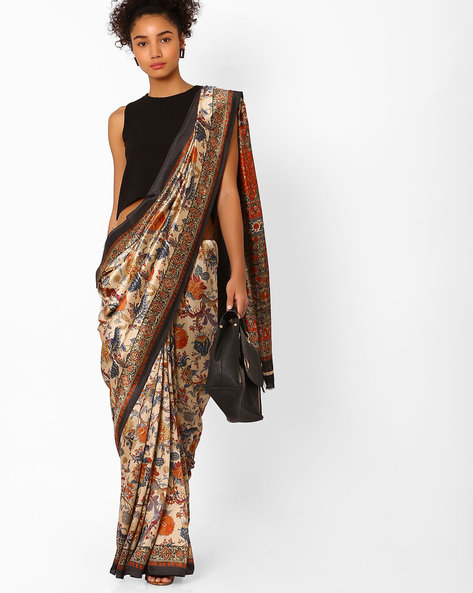 Floral Print Saree With Contrast Border By Pihu ( Orange )