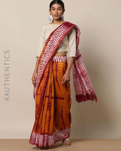 Shibori Tie Dye Chanderi Saree With Zari By Indie Picks ( Multi ) - 460146848001