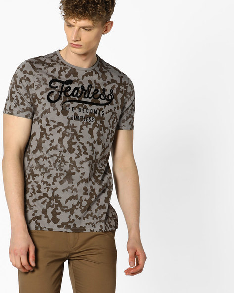 All-Over Print Crew-Neck T-shirt By AJIO ( Grey )