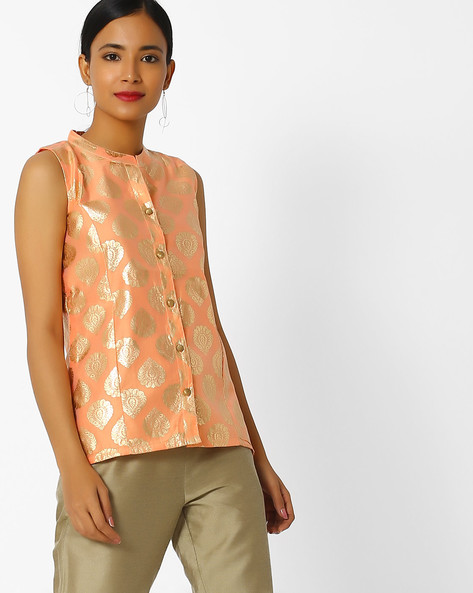 Floral Print Collared Top By Indian Ink ( Peach )