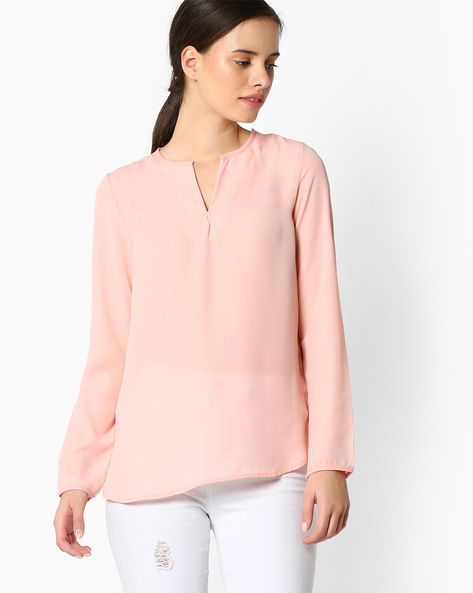 High-Low Hem Top By FIG ( Pink )