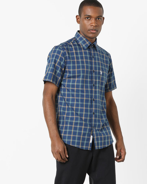 Checked Shirt With Patch Pocket By US POLO ( Navy )