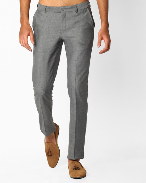Slim Fit Flat-Front Trousers By NETWORK ( Ltgrey )