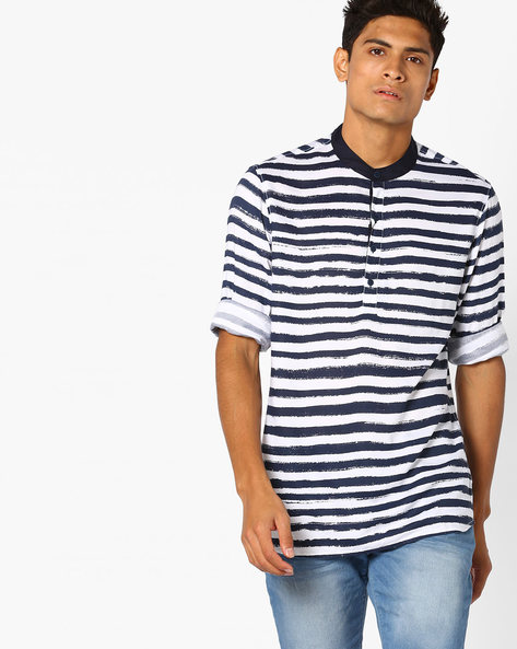 Striped Slim Shirt With Mandarin Collar By AJIO ( Navy )