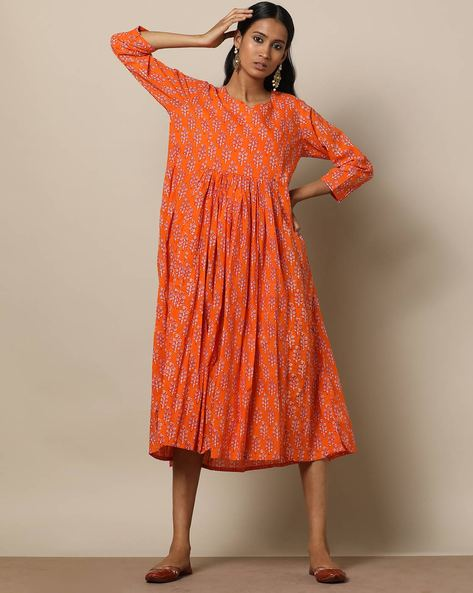 Printed Cotton Gathered Midi Dress By Seasons ( Orange )