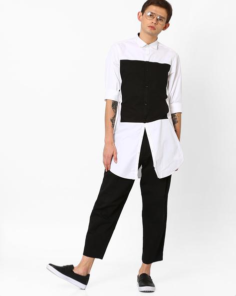 Colourblock Poplin Longline Shirt By ADAMO LONDON ( Multi )
