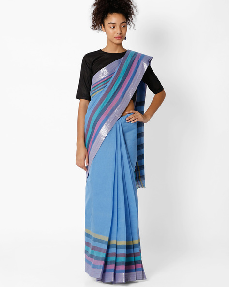 Cotton Saree With Contrast Border By Amori ( Blue )