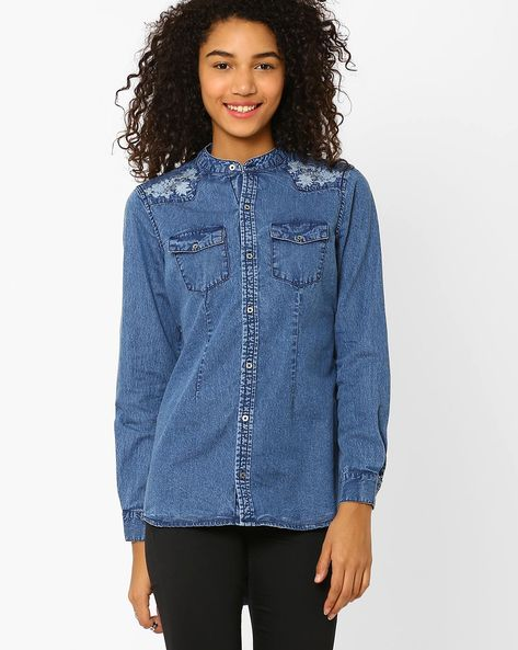 High-Low Denim Shirt By AJIO ( Blue )