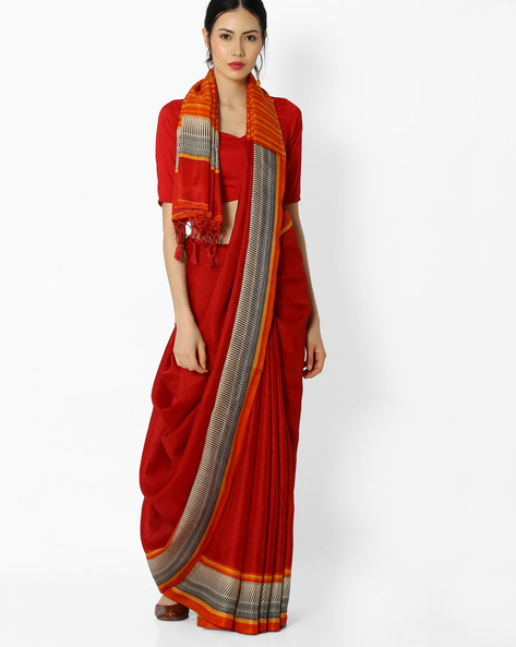 Striped Dupion Silk Saree By Amori ( Red )