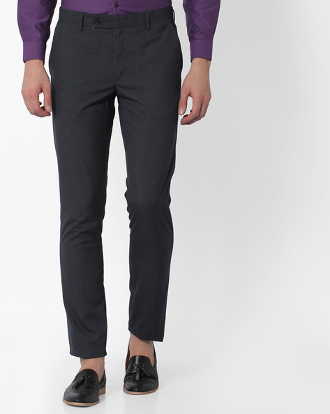 Flat-Front Sharp Fit Trousers By Black Coffee ( Charcoal )