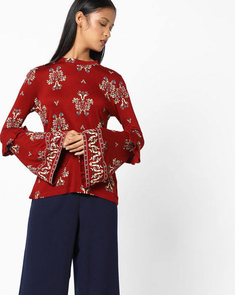 All-Over Print Top With Bell Sleeves By AJIO ( Maroon )