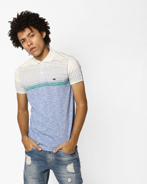 Heathered Polo T-shirt With Stripes By DUKE ( Ltgreen )