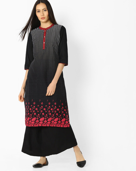 Printed Cotton Straight Kurta By AURELIA ( Black )
