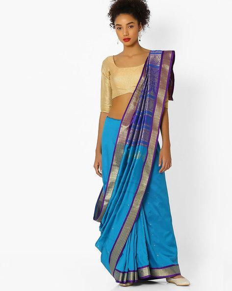 Saree With Zari Pallu By Ishaya ( Blue )