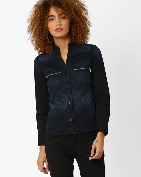 Denim Shirt With Mandarin Collar By WRANGLER ( Black )