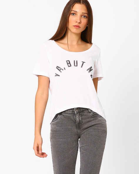 Graphic Print High-Low T-shirt By Vero Moda ( White )