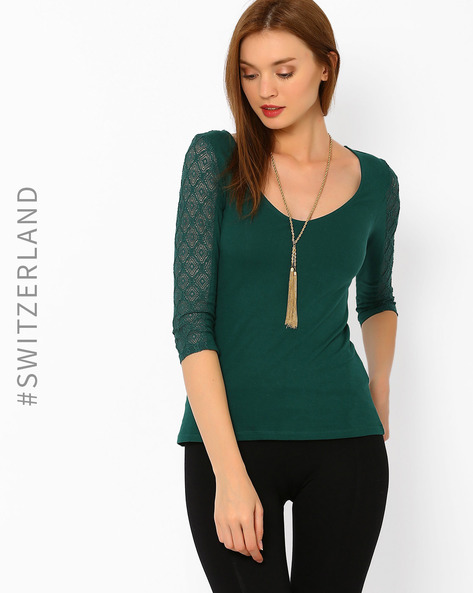 Top With Lace Sleeves By TALLY WEiJL ( Green )