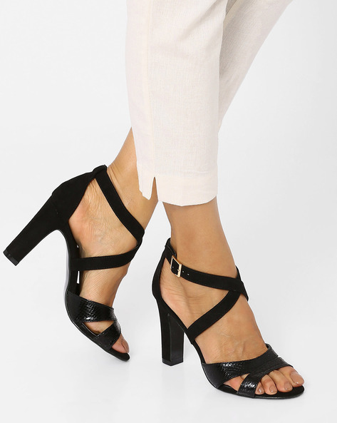 Strappy Heel Sandals By Tresmode ( Black )