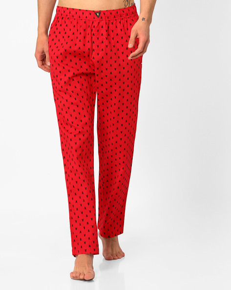 Printed Pyjamas With Elasticated Waist By Playboy ( Red )