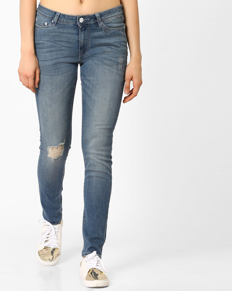 Lightly Washed Distressed Jeans By Lee ( Green )