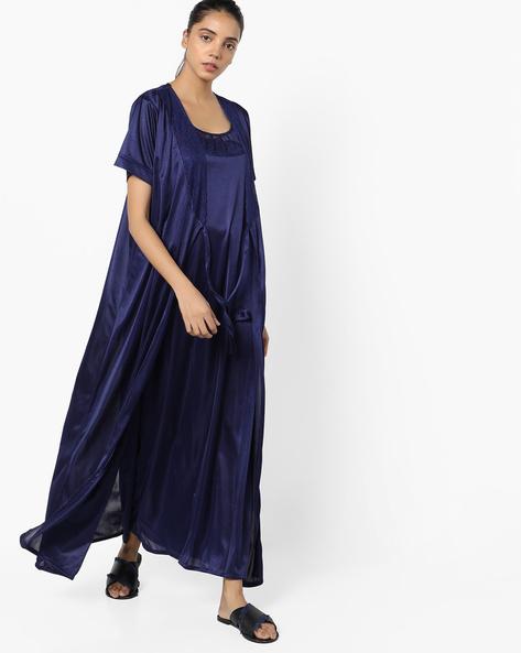 Satin Nightwear Set By Clovia ( Blue )