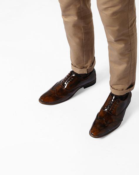 Patent Leather Brogue Shoes By Modello Domani ( Tan )