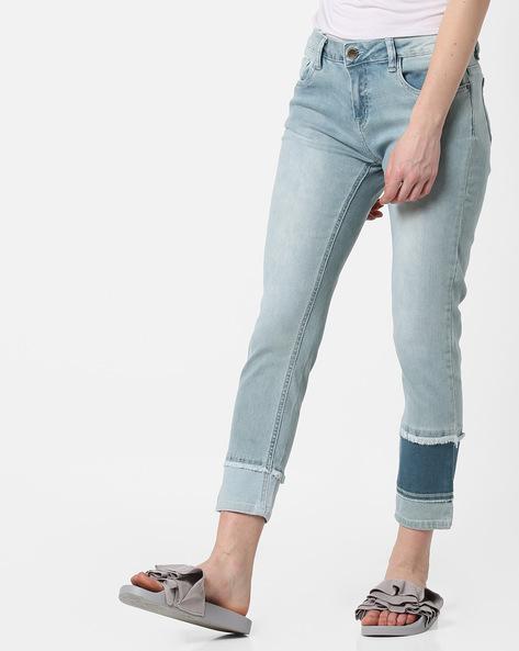 Skinny Cropped Jeans With Frayed Hems By AJIO ( Lightblue )