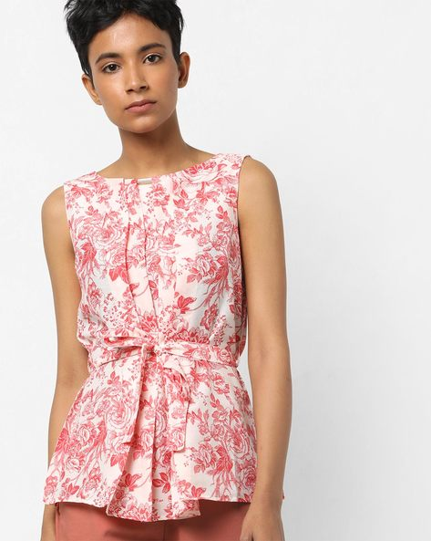 Floral Print Sleeveless Top By AJIO ( Coral )